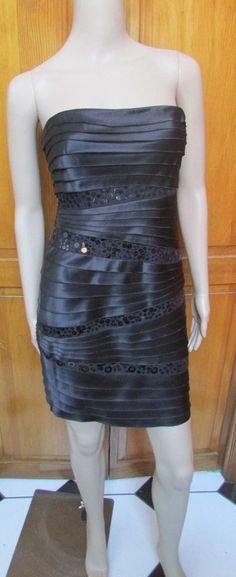 8,12 NWT Sangria Stefanie Lace Bodice Dress Black /& Rose Blush 2 4