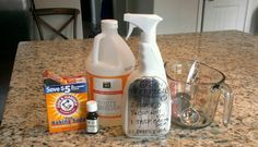 GREEN FEBREEZE: 2 cups hot water, 1/4 cup vinegar,1 tbsp baking soda, 12 drops essential oils