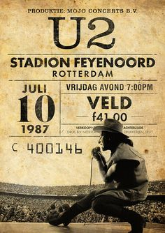 Rock Posters, Band Posters, Music Posters, Pop Rock, Rock N Roll, Rotterdam, U2 Poster, Print Poster, U2 Band