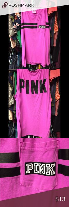 PINK by VS pocket tank PINK by VS pocket muscle tank. Magenta and black. Size medium. Loose fitted. Warn once! PINK Victoria's Secret Tops Muscle Tees