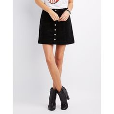 Charlotte Russe Corduroy Button-Up Shirt Skirt ($27) ❤ liked on Polyvore featuring skirts, mini skirts, black, charlotte russe skirts, a-line skirts, corduroy a line skirt, charlotte russe and a line mini skirt