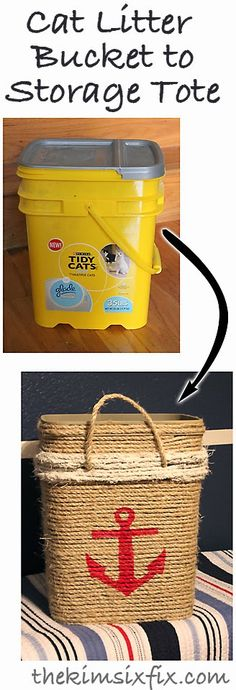 So creative and pretty: Cat Litter Bucket into Nautical Storage Tote (Tutorial). This idea could be useful in a multitude of ways.