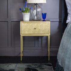 Offering a glamorous Art Deco feel, our smart Boudica Bedside Drawer unit comes with brass cladding and an on-trend deco design. Use the handy drawer for all your bedtime essentials such as books and reading glasses and place New Furniture, Table Furniture, Bedroom End Tables, Bedside Drawers, 1920s Art Deco, Drawer Unit, Art Deco Fashion, Solid Wood, Small Spaces