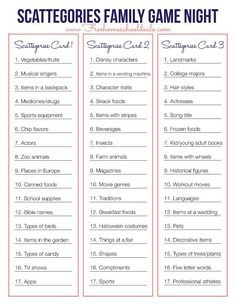 Scattegories Game Printable- This is a post by Free Homeschool Deals contributor, Samantha at Le Chaim on the Right. With the holidays coming up, spend quality time with family with Scattergories Lists, Pictionary Ideas, Family Reunion Games, Family Home Games, Family Games Indoor, Family Reunions, Family Fun Night, New Years Eve Party Ideas For Family, Night Kids