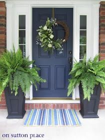 Blue front door (with white shutters)