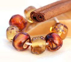 Amber handmade lampwork glass beads - organic set - SRA - autumn honey, harvest, orange, brown topaz LS022