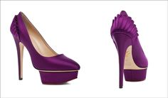 If you love the royal look of plum purple then these shoes in satin silk will be your ultimate pick. They have frills at the heel counter along with a stiletto heel and a platform.