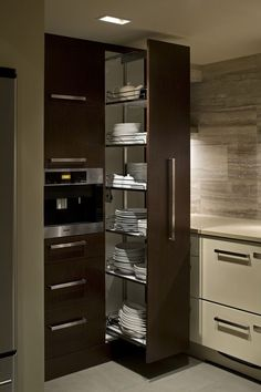 Home decor kitchen - Modern kitchen design - Small kitchen pantry - Kitchen design - Kitchen fu, Small Kitchen Pantry, Kitchen Pantry Design, Kitchen Cabinet Storage, Modern Kitchen Cabinets, Modern Kitchen Design, Home Decor Kitchen, Interior Design Kitchen, Home Kitchens, Gray Interior