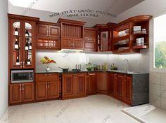 Báo giá tủ bếp gỗ Xoan Đào khung gỗ