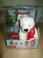 2006 COCA COLA/BOYD'S PLUSH POLAR BEAR 3 PC. GIFT SET. NEW UNUSED IN BOX.