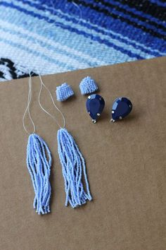 tutorial to create your own version of Oscar de la Renta's classic beaded tassel earrings.ll of the beaded strings. Keep the jump ring open andAre you looking for an easy crochet project for beginners? I think these diy crocheted hats might be exactl Diy Tassel Earrings, Tassel Earing, Tassel Jewelry, Seed Bead Earrings, Beaded Earrings, Earrings Handmade, Beaded Jewelry, Hoop Earrings, Handmade Beads
