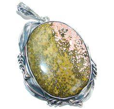 $90.66 Natural+Beautiful++Ocean++Jasper+Sterling+Silver++handmade+Pendant at www.SilverRushStyle.com #pendant #handmade #jewelry #silver #jasper