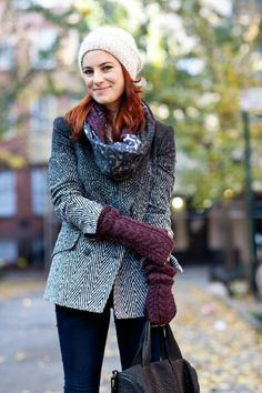 Love the eggplant splashes in scarf that match gloves. Also like the small pattern on jacket.