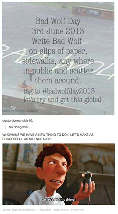 let's make Bad Wolf Day a thing