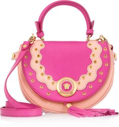 Versace Twotone Eyeletstudded Leather Shoulder Bag in Pink (fuchsia) -