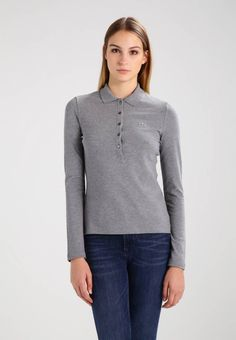 """Lacoste. Long sleeved top - galaxite chine. Fit:small. Outer fabric material:94% cotton, 6% spandex. Our model's height:Our model is 71.0 """" tall and is wearing size 8. Pattern:marl. Care instructions:do not tumble dry,machine wash at 30°C. L..."""
