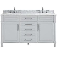 Home Decorators Collection Aberdeen 60 in. W x 22 in. D Double Bath Vanity in Dove Grey with Carrara Marble Top with White Sinks Aberdeen 60 - The Home Depot Luxury Bathroom Vanities, Bathroom Vanity Tops, Bath Vanities, Bathroom Cabinets, Luxury Bathrooms, Bathroom Mirrors, Bathroom Fixtures, Granite Vanity Tops, Marble Vanity Tops