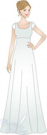 Empire Waist Silhouette for modest wedding dresses, modeled by WeddingLDS.com's signature bride