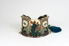 Folk Art Cactus Butterfly Southwestern Linked Bracelet