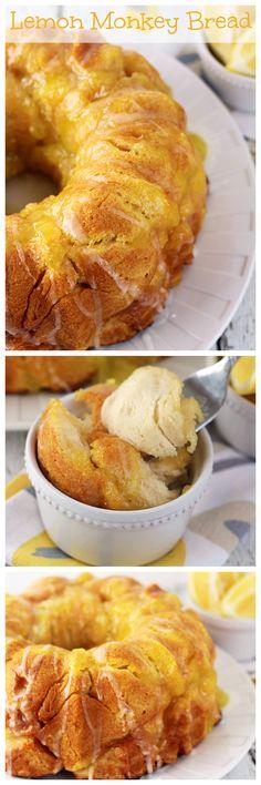 Julie's Eats & Treats: Lemon Monkey Bread ~ Flaky Biscuits Stuffed with Lemon Pie Filling and Drizzled in a Lemon Glaze!