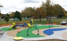 One of the great things about No Fault Safety Surface is that it comes in a variety of color options and can be inlaid with graphics or designs. No Fault Sport Group teamed up with Great Lakes Recreation to provide over 5,000 square feet of No Fault Safety Surface for Rosewood Park's Playground in Jenison, Michigan. They chose a beautiful color pattern including swirls of green, blue and tan. Learn more at www.nofault.com.