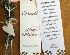 Segnaposto matrimonio ringraziamento con fiori fustellati. Segnalibro personalizzabili matrimonio. Ricordino matrimonio.