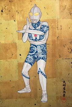 Hisashi Tenmyouya, Tattoo Man, 2002, acrylic, gold leaf, wood, 59.8 x 42cm