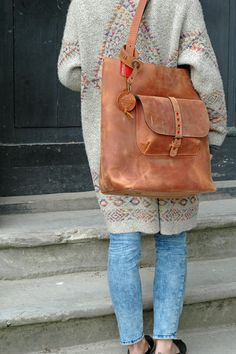 Leather Tote Bag GINGER handmade leather bag vintage hobo