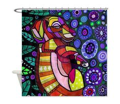 Dachshund Shower Curtain - Kid or Adult Shower Curtains - Abstract Colorful Print Doxie Dog Bathroom decor