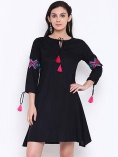 Buy Shakumbhari Black Embroidered Tunic - - Apparel for Women from Shakumbhari at Rs. Embroidered Tunic, Kurti, Cold Shoulder Dress, Black, Dresses, Design, Women, Style, Fashion