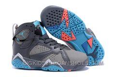lowest price 6c203 c3a3d New 2016 Nike Air Jordan 7 Retro GS Barcelona Days Dark Grey Turquoise Blue  Wolf Grey Total Orange Kids Shoes