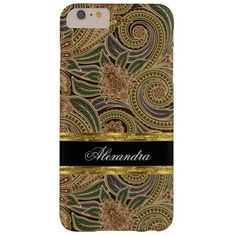 Paisley Pattern Floral Green Brown Gold Barely There iPhone 6 Plus Case