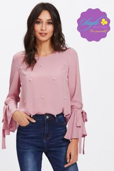 Cheap long sleeve blouse, Buy Quality sleeve blouse directly from China ruffles women tops Suppliers: Dotfashion Pearl Bow Tied Flounce Sleeve Blouse 2017 Pink Round Neck Ruffle Woman Top Long Sleeve Blouse Chiffon Blouses, Shirt Blouses, Chiffon Tops, Fashion Online Shop, Pastel Fashion, Blouse Online, Blouse Designs, Blouses For Women, Trends
