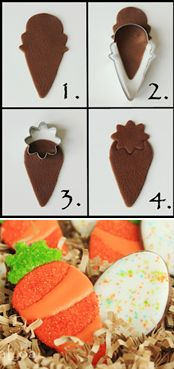 How to make sugared carrot cookies (LilaLoa). Smart use of an ice-cream cone and flower cutter--I would never have thought of that! (See link for full tutorial on making the cookies).