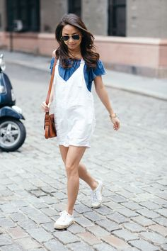 Easy, breezy summer style in a linen romper and off the shoulder top