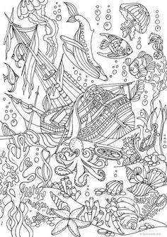 Ocean Life – Sunken Ship colouring page