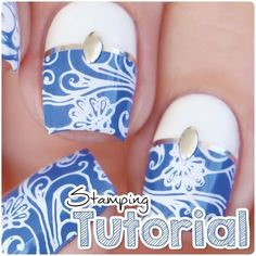 """Video tutorial Blue & White stamping nails I used the """"Wisdom Of Henna"""" stamping plate by @Winstonia_Store Clean up brush """"Fabulously Flat"""" by @Mitty_Burns ➡️ use my discount code """"MIRI10"""" for 10% off on your order on www.mitty.com.au Stuff around nails """"Simply Peel"""" for an easy clean up ➡️ @MyBlissKiss ✨ . Song: Hailee Steinfeld, Grey - Starving Video editing: Premiere Pro ▶️Full video on YouTube: Nails By Miri"""