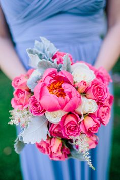 coral charm peony + rose bouquet | Rachel May #wedding