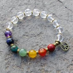 Cool chakra bracelet, made with genuine gemstones, genuine quartz crystal and…