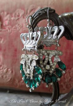 EARRINGS  vintage art deco rhinestone dress by TheFrenchCircus