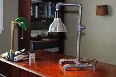 Industrial desk lamp, pipe lamp, plumbing pipe repurposed industrial lighting