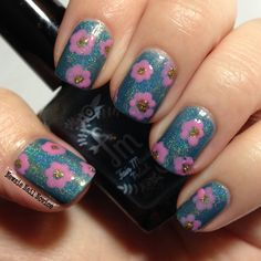 Floral nail art featuring Fair Maiden Polish Frozen Heart and Once Upon A Dream