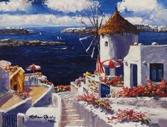 "Sam Park Limited Edition Hand Embellished Giclee on Canvas:""Windmill at Santorini"" Artist: S. Sam Park Title: Windmill at Santorini Size: 14 x 18 Edition: Artist Signed and Numbered Limited Edition COA included. Academic Drawing, Art Carte, Park Art, Artist Portfolio, Greek Art, Korean Artist, Learn To Paint, Art Auction, Community Art"