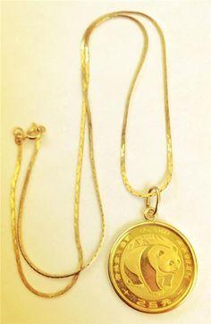 Vintage 1983 999 1/4 oz 24k Gold Panda Coin Pendant Necklace 14k Chain & Bezel * #Pendant