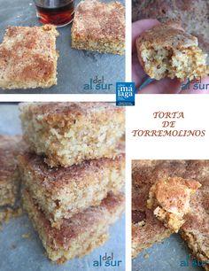 La cocina malagueña-Alsurdelsur: Torta de Torremolinos Ingredientes: 3 vasos de harina de trigo 1 vaso de leche entera 1 vaso de aceite de oliva virgen extra 1 vaso de azúcar piel de limón 1 cucharadita de sésamo 1 cucharadita de matalahúga o anís 1 cucharadita de levadura 1 cucharadita de bicarbonato 1 cucharadita de canela 1/4 cucharadita de sal ---------------- azúcar y canela 12 almendras (opcional)