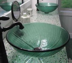 Love the recycled glass countertop by deirdre