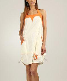 Look at this #zulilyfind! Off-White & Orange Halter Dress - Plus Too #zulilyfinds
