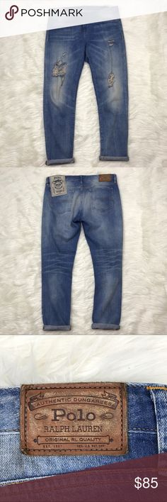 "[POLO Ralph Lauren] Astor Slim Boyfriend Jean 30 POLO Ralph Lauren Astor Slim Boyfriend Jeans in distressed denim. Zip fly with button closure. Medium wash blue with whiskering. Can be worn cuffed or uncuffed.   🔹Fabric: 100% Cotton 🔹Waist: 17"" (lying flat across top) 🔹Rise: 10"" 🔹Inseam: 30"" 🔹Condition: NWT. Has the tag label attached to back, but does not have the retail/barcode tag. Never worn.   *I30 Polo by Ralph Lauren Jeans Boyfriend"
