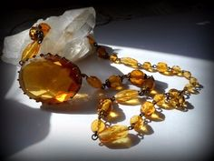 VINTAGE ART DECO NECKLACE AMBER COLORED BEVELED GLASS MYSTICAL
