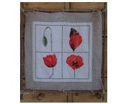"""A&B29 """"Coquelicots"""" Points, Creations, Flag, Art, Scrappy Quilts, Bergamot Orange, Poppies, Toile, Art Background"""